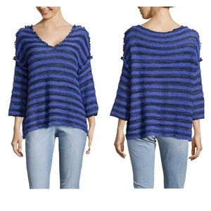 XS Free people stripped V-neck pullover